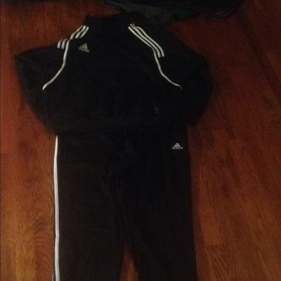 Adidas Pants Black Sweat Suit Blackwhite Blue Accent Poshmark